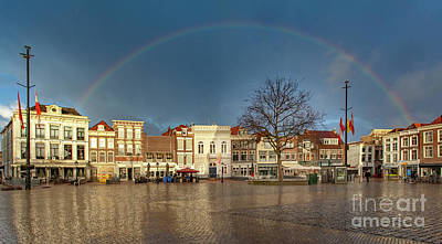 Photograph - Rainbow Over Market Place Gouda by Casper Cammeraat