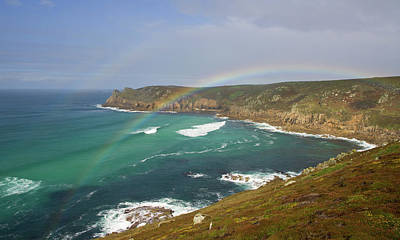 Photograph - Rainbow Over Nanjizal Bay In Cornwall by Pete Hemington
