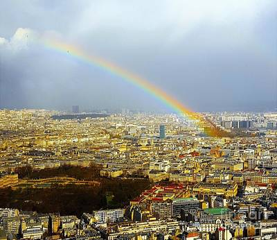 Paris Skyline Royalty-Free and Rights-Managed Images - Rainbow over Paris by Roxane Gabriel