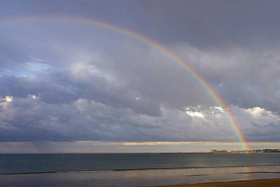 Photograph - Rainbow Over Revere Beach Revere Ma Cloudy Sky by Toby McGuire