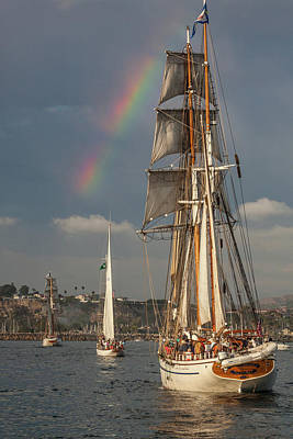 Photograph - Rainbow Over Tall Ships by Cliff Wassmann
