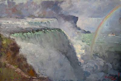 Niagara Falls Wall Art - Painting - Rainbow Over The Falls by Ylli Haruni