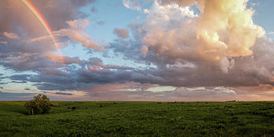 Photograph - Rainbow Over The Flint Hills Pano by Scott Bean