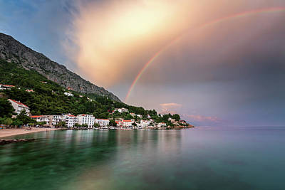 Studio Graphika Literature - Rainbow over the Small Village in Omis Riviera after the Rain, D by Andrey Omelyanchuk