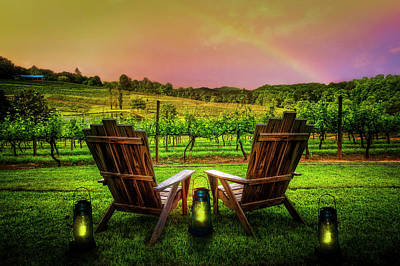 Rainbow Over The Vineyard Art Print by Debra and Dave Vanderlaan