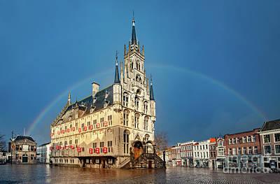 Photograph - Rainbow Over Town Hall Gouda by Casper Cammeraat
