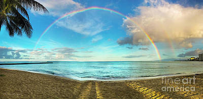 Photograph - Rainbow Over Waikiki Beach by MaryJane Armstrong