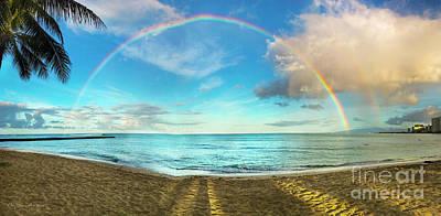 Photograph - Rainbow Over Waikiki Beach by MaryJane Armstrong
