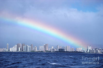 Photograph - Rainbow Over Waikiki by Mary Van de Ven - Printscapes