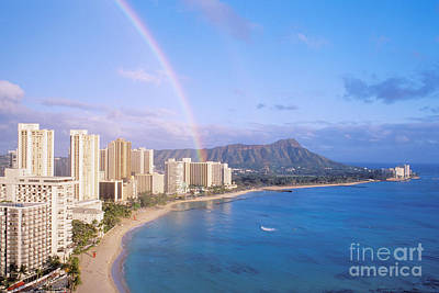 Photograph - Rainbow Over Waikiki by William Waterfall - Printscapes