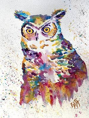 Painting - Rainbow Owl by Evita Kristapsone