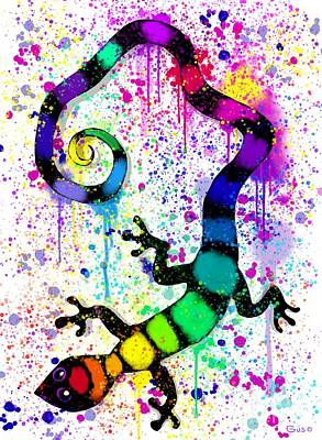 Digital Art - Rainbow Painted Gecko by Nick Gustafson