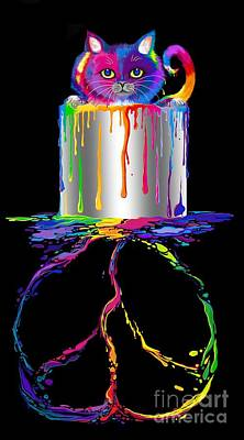 Digital Art - Rainbow Painted Peace by Nick Gustafson