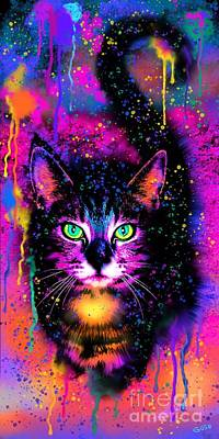 Digital Art - Rainbow Painted Tabby Cat  by Nick Gustafson