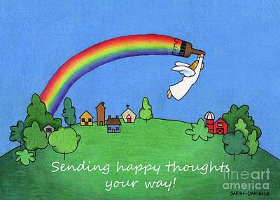 Folk Art Drawing - Rainbow Painter- Sending Happy Thoughts Your Way by Sarah Batalka