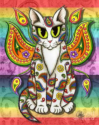 Art Print featuring the mixed media Rainbow Paisley Fairy Cat by Carrie Hawks