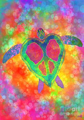 Rainbow Peace Sea Turtle Art Print by Nick Gustafson