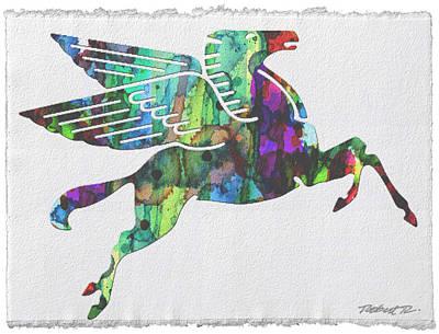 Rainbow Pegasus Mobil Print Poster Art Print