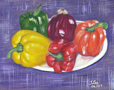Painting - Rainbow Peppers by Tracie L Hawkins