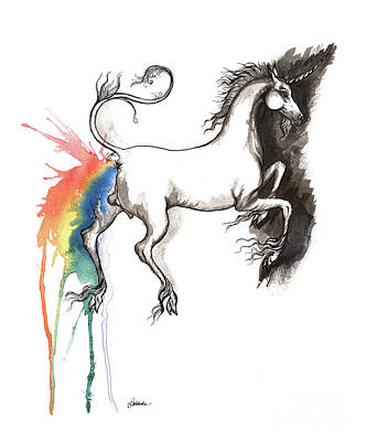 Painting - Rainbow Pooping Unicorn by Angel Ciesniarska