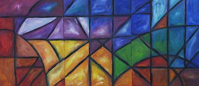 Painting - Rainbow Prism Landscape Triptych by Dianne  Connolly