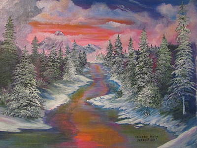 Painting - North Dakota And The Rainbow River by Dave Farrow