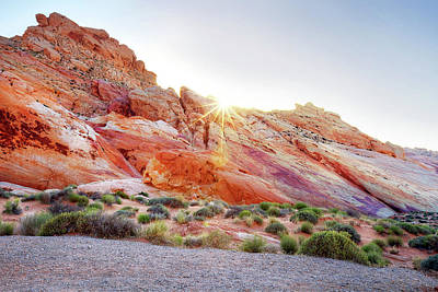Geography Photograph - Rainbow Rocks At Valley Of Fire, Nevada, Usa by Copyright Sarah Wright