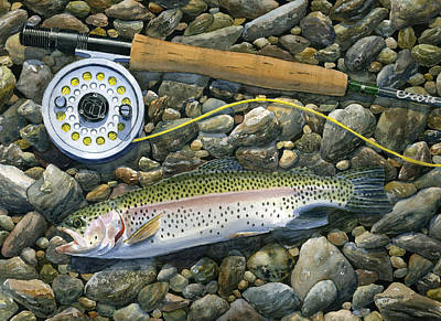 Trout Painting - Rainbow Rocks by Mark Jennings