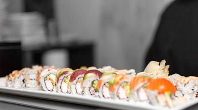 Rainbow Roll Sushi Monk Print by Pat Burns