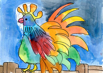 Painting - Rainbow Rooster by Holly Cramer Age Eleven