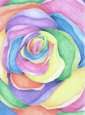 Colored Pencil Abstract Drawing - Rainbow Rose by Chanler Simmons