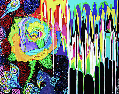 Rainbow Rose Painting - Rainbow Rose by Laura Barbosa