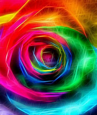 Rainbow Rose Rays Art Print