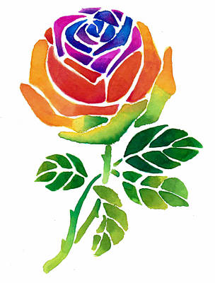 Watercolor Painting - Rainbow Rose by Sarah Krafft