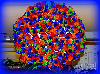 Digital Art - Rainbow Rose Wreath by Ed Weidman