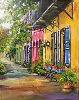 Rainbow Row Painting - Rainbow Row by Brenda Peake