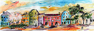 Painting - Rainbow Row Charleston South Carolina by Ginette Callaway