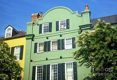 Photograph - Rainbow Row Green Charleston by John Rizzuto