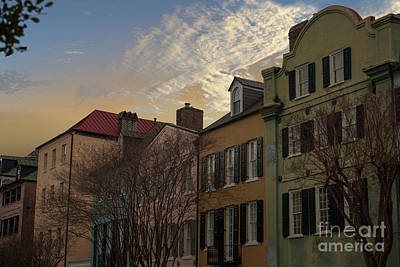 Photograph - Rainbow Row Sky by Dale Powell