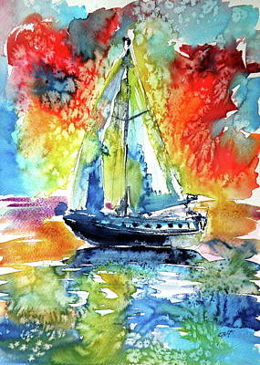 Painting - Rainbow Sailboat At Sunset by Kovacs Anna Brigitta