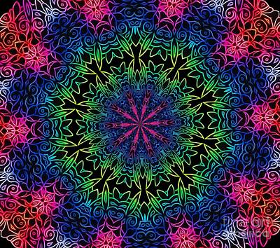 Mixed Media - Rainbow Scratch Art Mandala Kaleidoscope Abstract by Rose Santuci-Sofranko