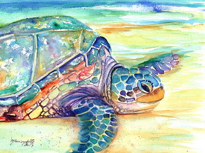 Kauai Artist Painting - Rainbow Sea Turtle 2 by Marionette Taboniar