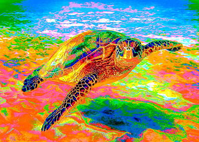 Digital Art - Rainbow Sea Turtle by Larry Beat