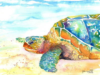 Painting - Rainbow Sea Turtle by Marionette Taboniar