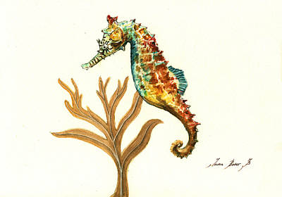 Nautical Painting - Rainbow Seahorse by Juan Bosco