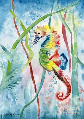 Painting - Rainbow Seahorse by Melly Terpening