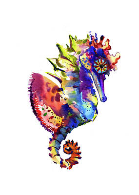 Seahorse Drawing - Rainbow Seahorse by Suren Nersisyan