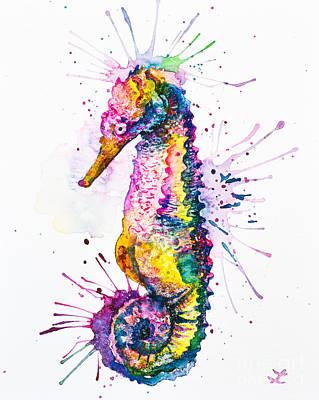 Painting - Rainbow Seahorse by Zaira Dzhaubaeva