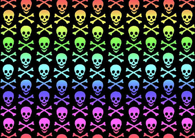 Digital Art - Rainbow Skull And Crossbones by Roseanne Jones