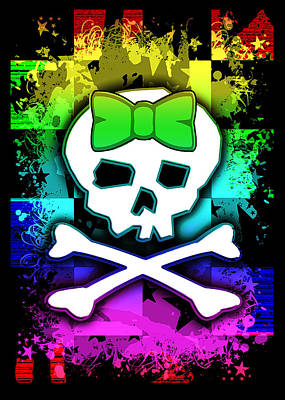 Emo Digital Art - Rainbow Skull by Roseanne Jones